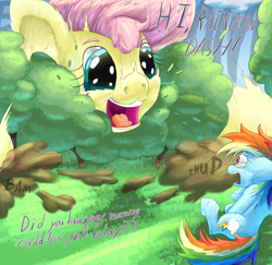 Size: 2020x1966 | Tagged: safe, artist:firefanatic, fluttershy, rainbow dash, :3, big ears, big grin, cuddle request, cute, destruction, dialogue, dust cloud, female, fluffy, frightened, giantess, grin, macro, messy mane, nostrils, onomatopoeia, scared, shocked, size difference, smiling, sound effects, startled, tree