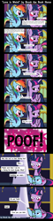 Size: 2500x10463 | Tagged: safe, artist:brook the book horse, rainbow dash, twilight sparkle, alicorn, pegasus, pony, blushing, book, bookhorse, comic, dialogue, dork, embarrassed, female, high res, implied daring do, inanimate tf, lesbian, mare, poof, shipping, speech bubble, that pony sure does love books, transformation, twidash, twilight sparkle (alicorn), wrong eye color, youtube link in the description