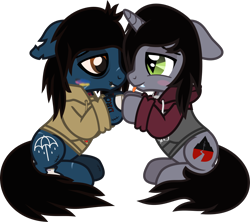 Size: 1433x1276 | Tagged: safe, artist:lightningbolt, derpibooru exclusive, oc, oc only, earth pony, pony, undead, unicorn, zombie, zombie pony, .svg available, bags under eyes, bloodshot eyes, blushing, bone, bring me the horizon, clothes, colored blushing, colored pupils, colored sclera, disguise, disguised siren, drop dead clothing, fangs, floppy ears, gay, holding hooves, hoodie, horn, kellin quinn, lip piercing, looking at each other, male, oliver sykes, piercing, ponified, scar, shipping, simple background, sitting, sleeping with sirens, slit eyes, stallion, stitches, svg, tattoo, tongue out, torn ear, transparent background, vector