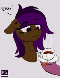 Size: 4682x6000 | Tagged: safe, artist:chrisfhey, oc, oc:berry mocha, brown coat, drink, purple eyes, purple mane, tea, unamused