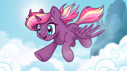 Size: 1920x1080 | Tagged: safe, artist:ali-selle, oc, oc only, oc:lightning starlight, alicorn, pony, alicorn oc, canterlot, flying, horn, movie accurate, smiley face, solo, wings