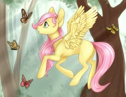 Size: 1280x983 | Tagged: safe, artist:yshanii, fluttershy, butterfly, pegasus, pony, amazed, blank flank, crepuscular rays, cute, female, filly, filly fluttershy, flying, forest, looking at something, looking up, open mouth, outdoors, profile, shyabetes, solo, spread wings, stray strand, tree, wings, younger