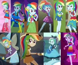 Size: 942x780 | Tagged: safe, edit, screencap, rainbow dash, fairy, eqg summertime shorts, equestria girls, equestria girls (movie), equestria girls series, friendship games, friendship through the ages, i'm on a yacht, leaping off the page, movie magic, opening night, rainbow rocks, rollercoaster of friendship, shake your tail, spoiler:eqg series (season 2), spoiler:eqg specials, belt, boot, bow, choose your own ending (season 1), clothes, collage, costume, cropped, explorer outfit, fairy bootmother, fairy wings, fake wings, fall formal, fall formal outfits, female, flashlight (object), grass skirt, guitar, hair bow, hologram, imagination, india movie set, lei, magic wand, mohawk, musical instrument, neon eg logo, rainbow dash always dresses in style, rocker, sandals, short skirt, skirt, sleeveless, smashing, sock hop, solo, straight, welcome to the show, wings, wristband