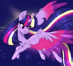 Size: 2048x1850 | Tagged: safe, artist:siripim111, twilight sparkle, alicorn, pony, chest fluff, colored wings, cute, ear fluff, female, mare, multicolored wings, rainbow power, solo, spread wings, twiabetes, twilight sparkle (alicorn), wings