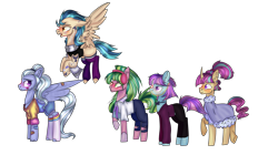 Size: 6976x3908 | Tagged: safe, artist:bublebee123, indigo zap, lemon zest, sour sweet, sugarcoat, sunny flare, earth pony, pegasus, pony, unicorn, adoraflare, alternate hairstyle, bandaid, beard, bitter sweet, blushing, bowtie, chains, clothes, cobalt strike, curved horn, cute, ear piercing, earring, equestria girls ponified, eyebrow piercing, facial hair, flying, freckles, headphones, heart, horn, jeans, jewelry, lime citron, male, markings, necklace, necktie, nose piercing, nose ring, open mouth, pants, piercing, ponified, raised hoof, raised leg, redesign, robe, rule 63, rule63betes, scarf, shadow five, shirt, shorts, simple background, socks, sourbetes, stallion, striped socks, stubble, sugarcute, sugarglaze, sunlight blaze, sweater, tanktop, tattoo, torn cothes, transparent background, underhoof, wall of tags, zapabetes, zestabetes