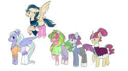 Size: 6976x3908 | Tagged: safe, artist:bublebee123, artist:icey-wicey-1517, color edit, edit, indigo zap, lemon zest, sour sweet, sugarcoat, sunny flare, earth pony, pegasus, pony, unicorn, adoraflare, alternate hairstyle, bandaid, beard, bitter sweet, bowtie, chains, clothes, cobalt strike, collaboration, colored, curved horn, cute, ear piercing, earring, equestria girls ponified, eyebrow piercing, facial hair, flying, freckles, headphones, heart, horn, jeans, jewelry, lime citron, male, markings, necklace, necktie, nose piercing, nose ring, open mouth, pants, piercing, ponified, raised hoof, raised leg, redesign, robe, rule 63, rule63betes, scarf, shadow five, shirt, shorts, simple background, socks, sourbetes, stallion, striped socks, stubble, sugarcute, sugarglaze, sunlight blaze, sweater, tanktop, tattoo, torn clothes, transparent background, underhoof, wall of tags, zapabetes, zestabetes