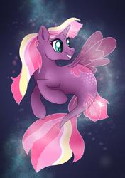 Size: 2039x2894 | Tagged: safe, artist:ali-selle, oc, oc:lightning starlight, alicorn, sea pony, seapony (g4), advertisement, commission info, cute, full body, happy, smiley face, solo