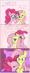 Size: 946x2301 | Tagged: safe, artist:nuxersopus, fluttershy, pinkie pie, pony, bed, blushing, comic, female, flutterpie, lesbian, pillow, shipping, sleeping together, smiling, wavy mouth