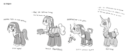 Size: 2100x924 | Tagged: safe, artist:velgarn, oc, oc only, oc:nunpone, earth pony, pony, unicorn, albino, ammunition, blind eye, boots, cigar, concept art, elderly, eyeshadow, female, fireproof boots, flamethrower, grayscale, gun, makeup, mare, mask, monochrome, nun, reloading, scar, shoes, shotgun, simple background, smoking, weapon, white background