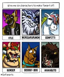 Size: 853x1020   Tagged: safe, artist:randomtheface, confetti (g1), anthro, dog, earth pony, great dane, pony, weregarurumon, six fanarts, animal crossing, anthro with ponies, bowser, bust, clothes, collar, crossover, digimon, drool, female, g1, kyle, male, mare, one eye closed, open mouth, scooby doo, sharp teeth, teeth, wink