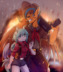 Size: 2576x2925   Tagged: safe, artist:1an1, oc, oc only, pegasus, pony, anthro, blushing, cigarette, clothes, commission, cowboy hat, cute, duo, eyepatch, facial hair, female, fire, goatee, gun, hat, high res, male, pants, protecting, shorts, smoking, weapon, your character here