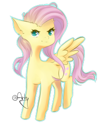 Size: 940x1173 | Tagged: safe, artist:lartyl, fluttershy, pegasus, pony, cute, ear fluff, female, mare, no pupils, shyabetes, simple background, solo, transparent background