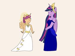 Size: 2048x1536   Tagged: safe, artist:mintymelody, scootaloo, twilight sparkle, alicorn, anthro, the last problem, alicornified, clothes, dress, princess twilight 2.0, race swap, scootacorn, twilight sparkle (alicorn), wedding dress