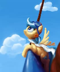 Size: 1280x1536   Tagged: safe, artist:wallparty, oc, oc only, oc:easy breezy, pegasus, pony, aviator goggles, aviator hat, clothes, cloud, con mascot, female, freckles, goggles, hat, hot air balloon, mare, midair pony fair, outdoors, scarf, sky, solo, spread wings, wings