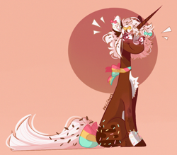 Size: 1058x926 | Tagged: safe, artist:akiiichaos, oc, oc only, oc:latte, chocolate pony, food pony, pony, unicorn, blushing, bow, female, hair bow, mare, sitting, solo, tail bow