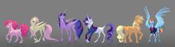 Size: 7720x2104 | Tagged: safe, artist:varwing, applejack, fluttershy, pinkie pie, rainbow dash, rarity, twilight sparkle, alicorn, pony, the last problem, absurd resolution, clothes, dock, glasses, mane six, older, older applejack, older fluttershy, older mane six, older pinkie pie, older rainbow dash, older rarity, older twilight, realistic horse legs, redesign, spread wings, twilight sparkle (alicorn), wings