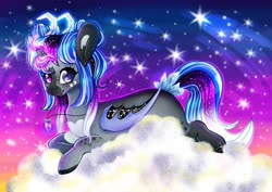 Size: 1272x900 | Tagged: safe, artist:heveagoodday, artist:meqiopeach, oc, oc only, alicorn, bat pony, original species, pegasus, pony, unicorn, bat pony oc, bat wings, cloud, commission, crystal, full background, jewelry, lying on a cloud, necklace, night, on a cloud, pegasus oc, solo, stars, wings