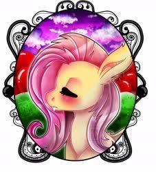 Size: 2000x2200 | Tagged: safe, artist:heveagoodday, fluttershy, bat pony, pony, apple, bat ponified, bust, eyes closed, fangs, female, flutterbat, food, portrait, profile, race swap, solo, watermark