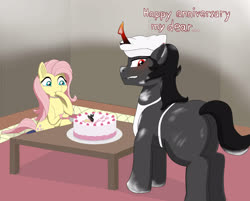 Size: 3378x2721 | Tagged: source needed, safe, artist:jasper, fluttershy, king sombra, pony, baking, blushing, cake, crying, dirty, female, food, male, shipping, sitting, sombrashy, straight