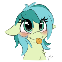 Size: 3250x3250 | Tagged: safe, artist:fakskis, sandbar, earth pony, pony, 30 minute art challenge, blushing, bust, chest fluff, colored sketch, cute, eye clipping through hair, female, filly, floppy ears, hnnng, portrait, rule 63, rule63betes, sandabetes, sandbank, sketch, solo, tongue out