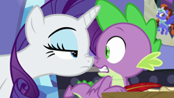 Size: 1920x1080 | Tagged: safe, screencap, rarity, spike, dragon, pony, unicorn, dragon dropped, duo, female, male, mare, nose to nose, nose wrinkle, quill, spike's room, twilight's castle, winged spike