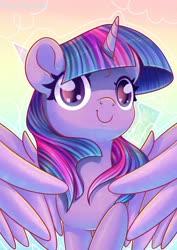 Size: 1280x1807   Tagged: safe, artist:musicfirewind, twilight sparkle, alicorn, pony, cute, female, gradient background, mare, solo, spread wings, twiabetes, twilight sparkle (alicorn), wings