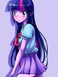 Size: 1080x1440 | Tagged: safe, artist:tastyrainbow, twilight sparkle, equestria girls, blushing, bow, clothes, cute, female, hand, open mouth, shy, skirt, solo, twiabetes