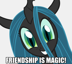 Size: 1084x963 | Tagged: safe, artist:drunkhedgehog, edit, vector edit, queen chrysalis, changeling, changeling queen, pony, a better ending for chrysalis, adorkable, alternate ending, alternate scenario, alternate universe, bust, caption, character development, cute, cutealis, dialogue, dork, dorkalis, excited, faic, female, giggling, good end, grin, happy, image macro, irrational exuberance, looking at you, mare, meme, meta, out of character, portrait, precious, reaction image, redemption, reformed, role reversal, silly, silly pony, simple background, smiling, solo, squee, text, title drop, vector, when she smiles, white background, wide eyes