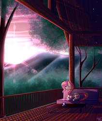 Size: 1600x1900 | Tagged: safe, artist:spirit-fire360, sunset shimmer, unicorn, cup, fence, looking at each other, peaceful, relaxing, solo, sunset, tree, wood