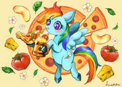 Size: 890x629 | Tagged: safe, artist:kuna4ri, rainbow dash, pegasus, pony, apple cider, apple slice, backwards cutie mark, basil leaf, cheese, cider, colored hooves, cute, dashabetes, drink, eating, female, flower, food, hoof hold, leaf, mare, pepperoni, pepperoni pizza, pizza, solo, straw, tankard, tomato