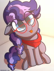 Size: 519x680   Tagged: safe, artist:perezadotarts, oc, oc only, oc:cinnabyte, earth pony, pony, adorkable, bandana, cute, dork, female, glasses, mare, part of a set, sitting, tongue out, ych result