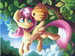 Size: 1600x1184   Tagged: safe, artist:saxopi, fluttershy, bee, insect, pegasus, pony, beehive, chest fluff, cute, female, flying, looking at something, mare, outdoors, shyabetes, smiling, solo, spread wings, tree, tree branch, wings