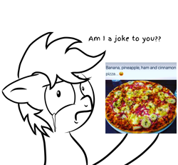 Size: 2700x2500 | Tagged: safe, artist:pizzamovies, oc, oc:pizzamovies, banana, cinnamon, crying, food, ham, meat, meme, pineapple, pineapple pizza, pizza, simple background, solo