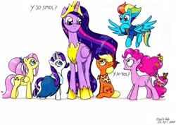 Size: 1920x1359 | Tagged: safe, artist:killerteddybear94, applejack, fluttershy, pinkie pie, rainbow dash, rarity, twilight sparkle, alicorn, earth pony, pegasus, pony, unicorn, the last problem, dialogue, flying, hat, looking at each other, mane six, older, older applejack, older fluttershy, older mane six, older pinkie pie, older rainbow dash, older rarity, older twilight, open mouth, princess twilight 2.0, size difference, smol, tol, traditional art, twilight sparkle (alicorn)