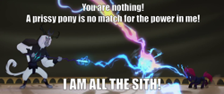 Size: 2000x838 | Tagged: safe, edit, edited screencap, screencap, storm king, tempest shadow, pony, unicorn, yeti, my little pony: the movie, antagonist, armor, balcony, broken horn, canterlot castle, caption, crown, darth sidious, duel, duo, emperor palpatine, fangs, female, fight, glare, horn, horns, image macro, impact font, jewelry, magic, male, mare, meme, quote, reference, regalia, sparkling horn, staff, staff of sacanas, star wars, star wars: the rise of skywalker, storm, storm king's emblem, text, the emperor, unlimited power, wind