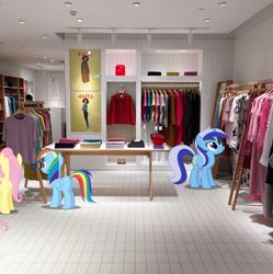 Size: 2967x2980 | Tagged: safe, artist:dashiesparkle, artist:dashiesparkle edit, artist:jerryakiraclassics19, edit, vector edit, fluttershy, minuette, rainbow dash, pegasus, pony, unicorn, boutique, butt, china, clothes, female, floor, irl, photo, plot, ponies in real life, shanghai, shop, vector
