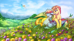Size: 3840x2160 | Tagged: safe, artist:lupiarts, rainbow dash, spitfire, bird, butterfly, insect, ladybug, pegasus, pony, biting, creek, ear bite, female, field, flower field, hill, lesbian, mare, meadow, nibbling, one eye closed, prone, scenery, scenery porn, shipping, sky, smiling, spitdash, spring