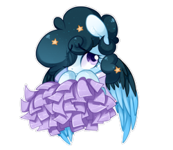Size: 1037x900 | Tagged: safe, artist:loyaldis, oc, oc only, oc:stellar constellation, pegasus, pony, cheerleader, clothes, cute, dress, ethereal mane, eye clipping through hair, female, mare, pom pom, shy, simple background, solo, starry mane, stars, transparent background, two toned wings, wings, ych result