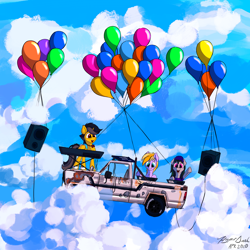 Size: 7200x7200 | Tagged: safe, artist:hyper dash, oc, oc only, oc:faulty, oc:john kenza, oc:metajoker, pony, balloon, car, cloud, midair pony fair, speakers