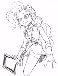 Size: 2004x2611 | Tagged: safe, artist:chapaghettii, pinkie pie, equestria girls, clothes, crystal guardian, dress, energy sword, energy weapon, evil, female, gloves, monochrome, ponied up, skirt, socks, solo, sword, thigh highs, uniform, weapon