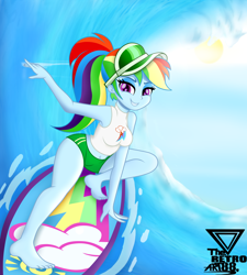Size: 2500x2777 | Tagged: safe, artist:theretroart88, rainbow dash, equestria girls, barefoot, belly button, board shorts, breasts, busty rainbow dash, clothes, confident, feet, female, high res, looking at you, ocean, ponytail, sexy, shorts, smiling, smirk, solo, surfboard, surfing, tomboy, wave