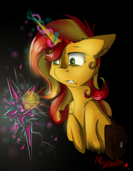 Size: 798x1024 | Tagged: safe, artist:yuris, sunset shimmer, pony, unicorn, broken, cheek fluff, chest fluff, ear fluff, element of magic, female, glowing horn, gritted teeth, leg fluff, looking at something, saddle bag, shoulder fluff, solo