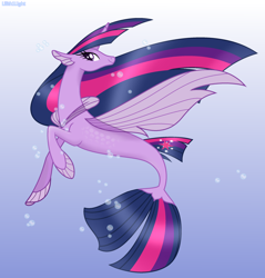 Size: 2280x2383 | Tagged: safe, artist:lilith1light, twilight sparkle, alicorn, sea pony, seapony (g4), my little pony: the movie, the last problem, base used, beautiful, bubble, eyelashes, female, fin wings, fins, fish tail, flowing mane, horn, older, older twilight, princess twilight 2.0, seaponified, seapony twilight, smiling, solo, species swap, tail, twilight sparkle (alicorn), underwater, water, wings