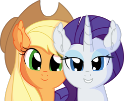 Size: 5202x4236 | Tagged: safe, artist:cyanlightning, applejack, rarity, earth pony, pony, unicorn, .svg available, absurd resolution, applejack's hat, commissioner:raritybro, cowboy hat, duo, hat, lidded eyes, looking at you, simple background, transparent background, vector