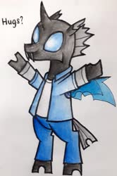 Size: 1780x2675 | Tagged: safe, artist:melisareb, kevin (changeling), changeling, ben 10, bipedal, clothes, crossover, cute, cuteling, kevin levin, male, name pun, namesake, solo, traditional art