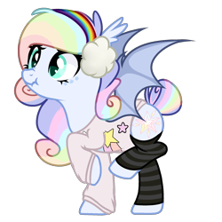 Size: 2000x2000 | Tagged: safe, artist:alfury, oc, oc only, bat pony, pony, base used, bat pony oc, bat wings, clothes, earmuffs, female, mare, scrunchy face, shirt, simple background, socks, solo, striped socks, transparent background, wings