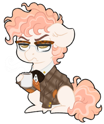 Size: 1024x1212 | Tagged: safe, artist:azure-art-wave, oc, oc:marshal trim, earth pony, pony, chibi, clothes, coffee mug, crack ship offspring, male, mug, offspring, parent:mayor mare, parent:svengallop, shirt, simple background, solo, stallion, sweater vest, transparent background