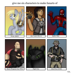 Size: 1829x1856 | Tagged: safe, artist:99999999000, derpy hooves, dragon, human, pegasus, pony, six fanarts, alyx vance, ar15, call of duty, captain price, gun, half-life, half-life 2, half-life: alyx, heavy weapons guy, how to train your dragon, m4a1, marvel, spider-man, team fortress 2, toothless the dragon, weapon