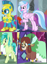 Size: 1210x1626 | Tagged: safe, screencap, gallus, sandbar, silverstream, yona, classical hippogriff, griffon, hippogriff, pony, yak, the last problem, cropped, female, gallstream, male, off screen character, older, older gallus, older sandbar, older silverstream, older yona, royal guard gallus, shipping, straight, wrong aspect ratio, yonabar