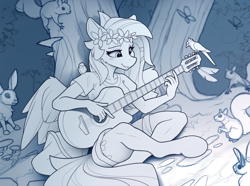Size: 2200x1634   Tagged: safe, artist:yakovlev-vad, fluttershy, bird, butterfly, rabbit, squirrel, anthro, unguligrade anthro, animal, clothes, cute, flower, flower in hair, guitar, hippie, hippieshy, monochrome, musical instrument, playing, shyabetes, sketch, tree